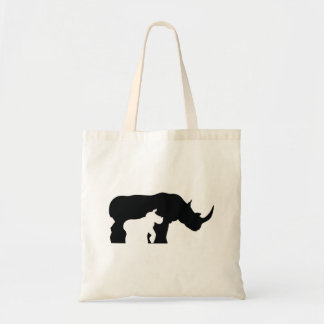 Black and White Rhino Tote Bag