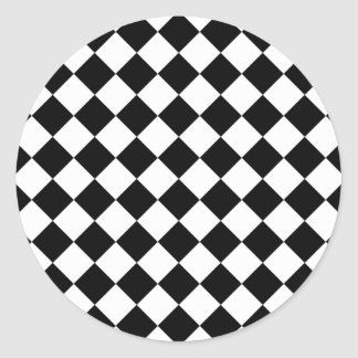 Black and White Rhombus Classic Round Sticker