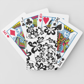 Black and White Rings and Flowers Bicycle Playing Cards