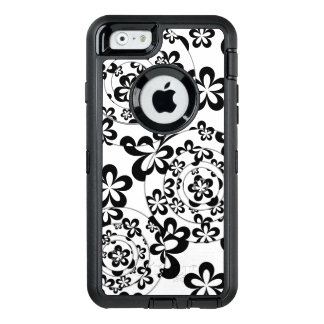 Black and White Rings and Flowers OtterBox Defender iPhone Case