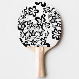Black and White Rings and Flowers Ping Pong Paddle