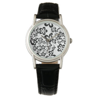Black and White Rings and Flowers Wrist Watch