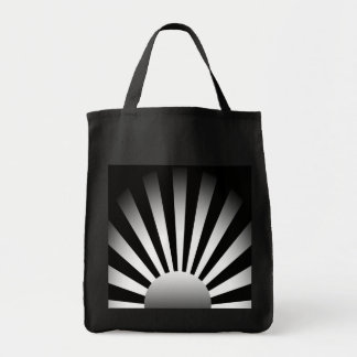 Black and White Rising Sun Tote Bag