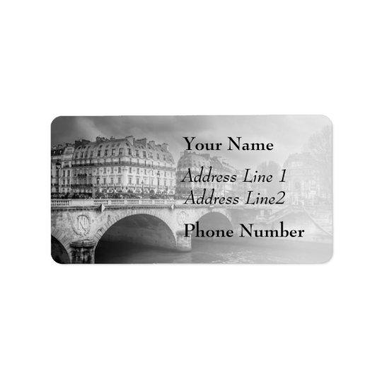 Black and White River Seine Label
