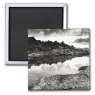 Black and White River Through Rock Square Magnet