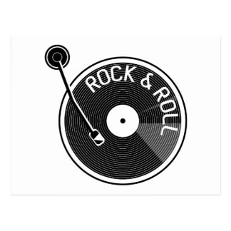 Black and White  Rock And Roll Vinyl Record Postcard