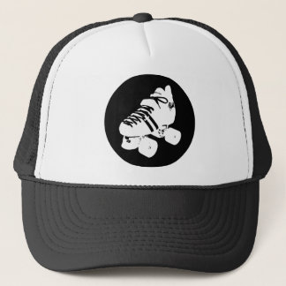 Black and white roller derby skate design trucker hat