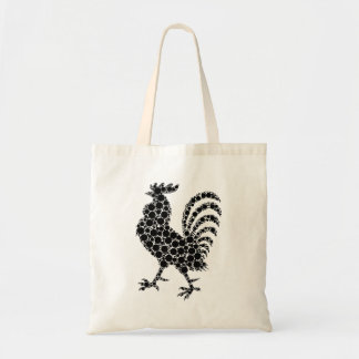 Black and white rooster tote bag