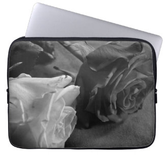 Black and White Rose, B&W Photo Laptop Sleeve