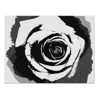 Black and white rose graphic poster