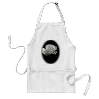 BLACK AND WHITE ROSE IN BLOOM STANDARD APRON