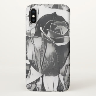 Black and White Rose iPhone X Matte Case