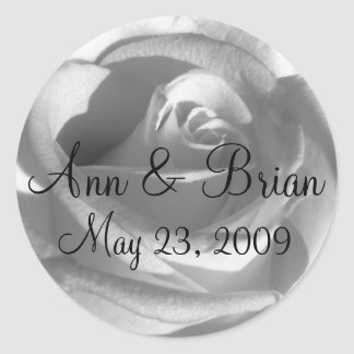 Black and White Rose Names Date Sticker