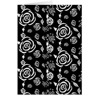 Black and White Rose Pattern Greeting Card