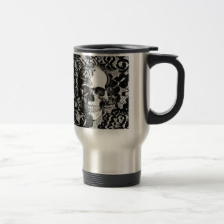 Black and white rose skull on lace background. 15 oz stainless steel travel mug
