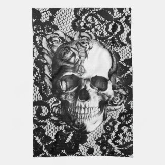 Black and white rose skull on lace background. kitchen towel