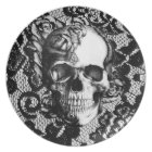 Black and white rose skull on lace background. plate