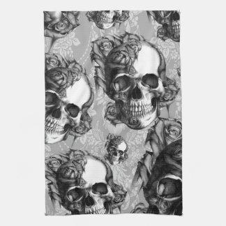 Black and white rose skull pattern, hand drawn. kitchen towel