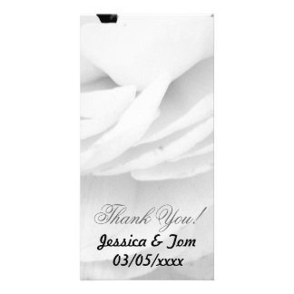 Black and White Rose wedding Photo Greeting Card