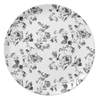 Black and White Roses Floral Pattern Plate