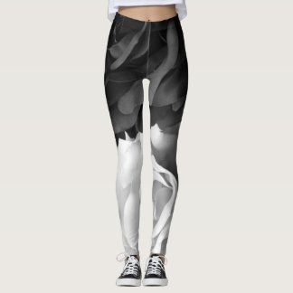 Black and White Roses Leggings