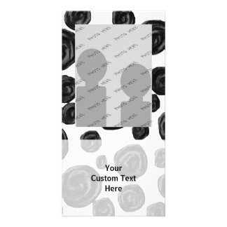 Black and White Roses Pattern. Photo Card Template