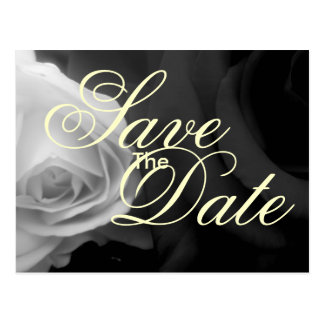 Black and White Roses save the date Postcard