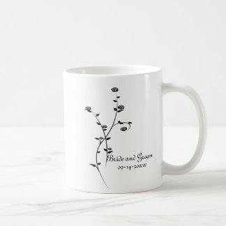 Black and White Roses Wedding Classic White Coffee Mug