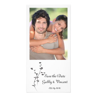 Black and White Roses Wedding Save the Date Photo Greeting Card
