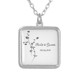 Black and White Roses Wedding Silver Plated Necklace