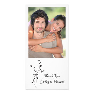 Black and White Roses Wedding Thank You Custom Photo Card