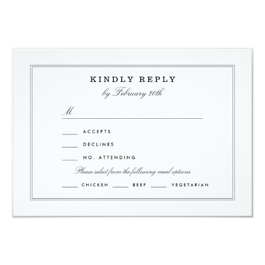 Black and White RSVP Card