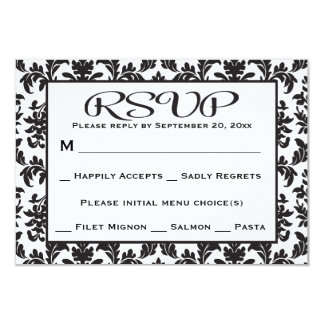 """Black And White RSVP Damask Floral Wedding / Party 3.5"""" X 5"""" Invitation Card"""