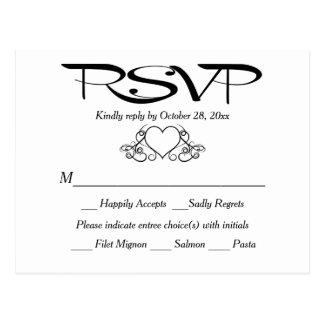 Black And White RSVP Heart Wedding Party Response Postcard