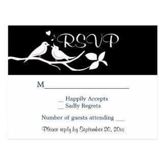 Black and White RSVP Lovebirds Wedding Party Postcard