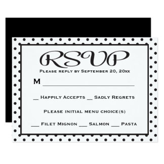 "Black And White RSVP Polka Dot Wedding / Party 3.5"" X 5"" Invitation Card"