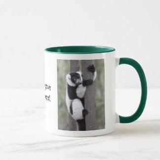Black and White Ruffed Lemur on Tree Mug