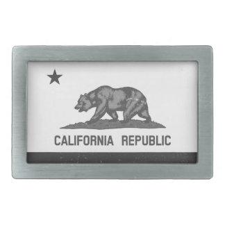 Black and White Rugged California Republic Flag Belt Buckle