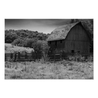 Black and White Rustic Barn Poster