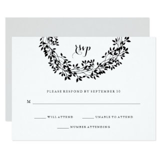 Black and White Rustic Botanical Wreath RSVP Card