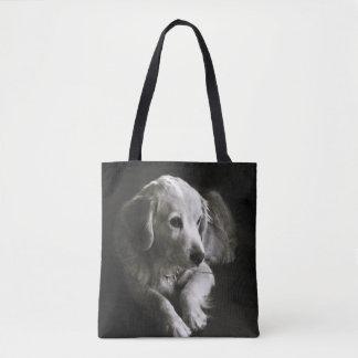 Black and White Sad Dog | Tote Bag