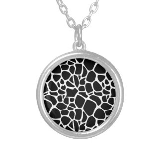 Black and white safari silver plated necklace