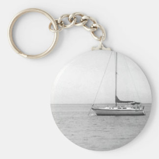 Black and White Sailboat Photo Keychain