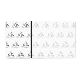 Black and White Sailing Ship Pattern Shipping Label