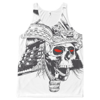 black and white samurai helmet with skull All-Over-Print tank top