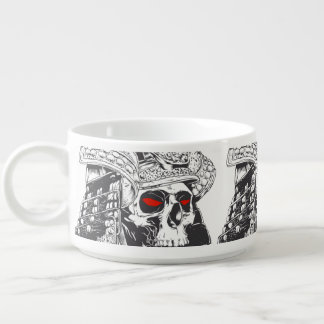 black and white samurai helmet with skull chili bowl