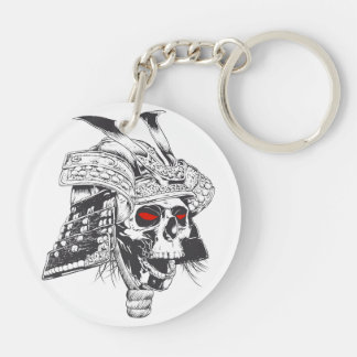 black and white samurai helmet with skull Double-Sided round acrylic keychain
