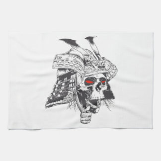black and white samurai helmet with skull hand towels