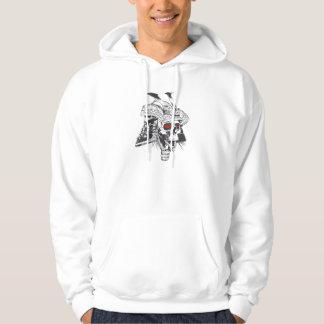 black and white samurai helmet with skull hoodie
