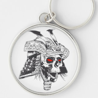 black and white samurai helmet with skull Silver-Colored round keychain